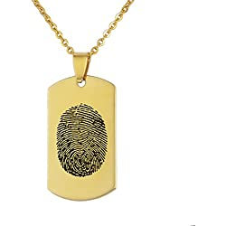 VALYRIA Stainless Steel Gold Fingerprint Jewelry Personalized Custom ID Tag Memorial Pendant Necklace with Engraving (Fingerprint)