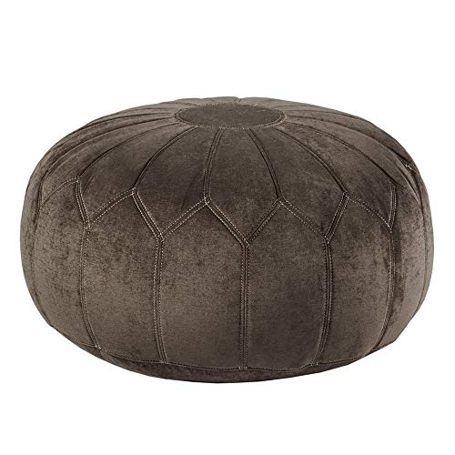 Madison Park Kelsey Round Floor Pillow Pouf Large-Soft Fabric, Polystyrene Beads Fill Ottoman Foot Stool-1 Piece Mid-Century Modern Floral Design Oversized Beanbag, Brown (Oversized Beanbags)