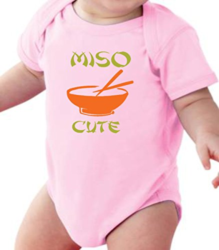 FNB Fashion Me So Cute - Funny Miso Soup Japanise Baby Romper Onesie Unisex WARPPED and Protected With A Clear Poly Bag (6-12 Months, Light Pink)
