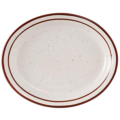 """TableTop King TBS-014 Bahamas 13 1/4"""" x 10 1/2"""" Brown Speckle Narrow Rim China Platter - 12/Case"""