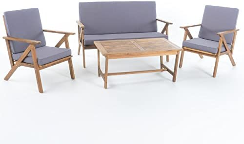 Christopher Knight Home Panama Outdoor Acacia Wood Chat Set