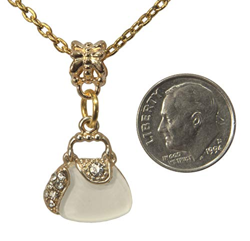 """Pendant, Gold Plated Purse with White Enamel Rhinestone Charm+FREE 20"""" CHAIN+ FREE GIFT BAG"""