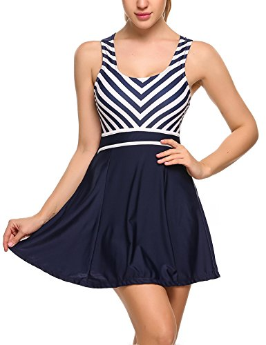 Women Striped One Piece Swimsuit Padded Tankini Sailor High Waist Swimdress (S,Navy - Swim Wear Female
