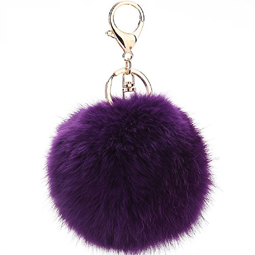 ETENOVA Cute Genuine Rabbit Fur Ball Pom Pom Keychain Car Key Ring for Women Handbag Bag Purse (Fur Genuine Handbag)