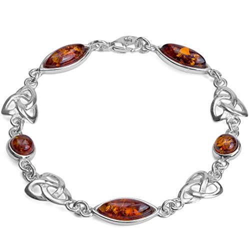 Honey Amber Sterling Silver Celtic Love Knot Marquise-shaped Bracelet 7