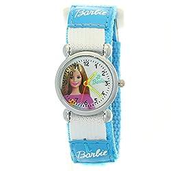 Girls Cartoon Barbie Round White Dial Blue Nylon Velcro Tape Quartz HOT-SALE Watches