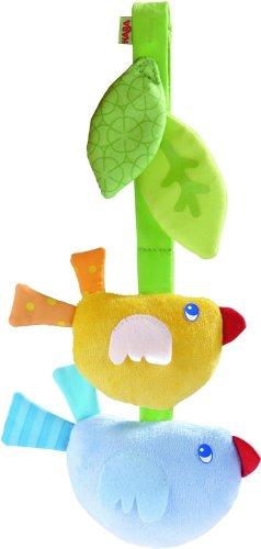 HABA Dangling Figure Bird Friends - Machine Washable Plush Chicks with Rattle and Rustling Foil - Great for Car Seats and Play Pens