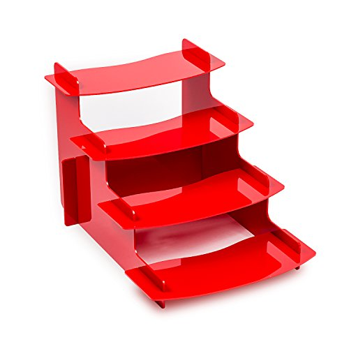 Source One 4 Tiered Acrylic Display Riser, 4 Shelf Platforms, Perfect for Weddings, Parties, Cupcakes, Any Displaying Need (1 Pack, Red)