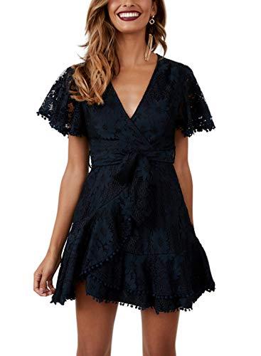 FFLMYUHUL I U Women's Sexy V Collar Ruffle Lotus Leaf Sleeve Asymmetric Lace Embroidery Short Dress Navy (Lace Sleeve Embroidery)