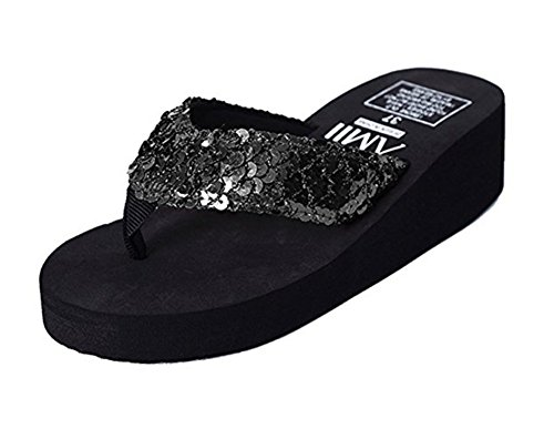 D for Beach Platform Sequin Sun Sandals Wedge Sandals Flip Bubble Black Women Meowstyle Flops dHvqEw8dF