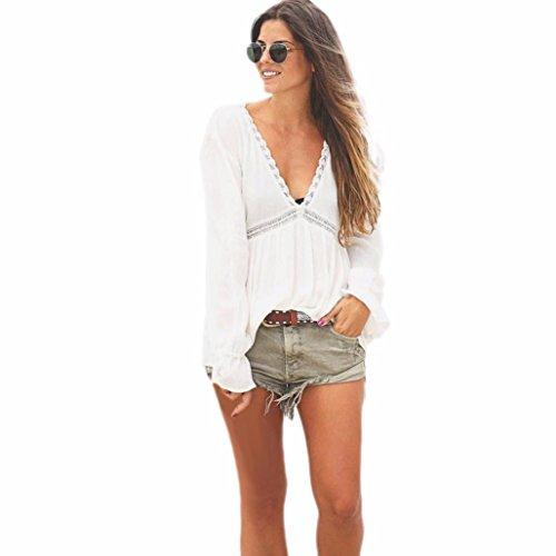 WOCACHI Damen Frauen beiläufige lose mit V-Ausschnitt Spitze-lange Hülsen-Hemd-Bluse Tops Weiß (M, Weiß)