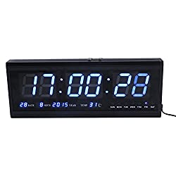 Large Digital Led Wall Modern Clock Timer with Calendar Temperature for Living Room, Office, Meeting Room - 18 (Blue)