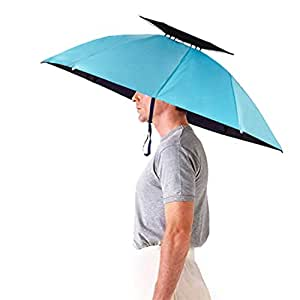 Luwint 36'' Diameter Double Layer Folding Compact UV Wind Protection Umbrella Hat (Blue)