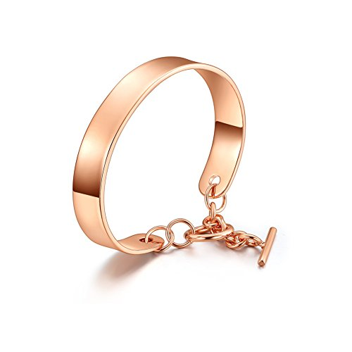 UMODE Jewelry Purity Mirror Polished Cuff Design Bangle Bracelet for Women(Rose Gold Color) - Gold And Diamond Cuff Bracelet