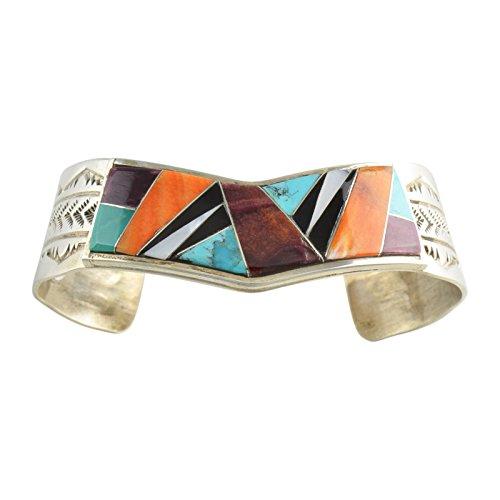 Dale Livingston Sterling Silver Multi Color Inlay Cuff Bracelet Navajo Jewelry