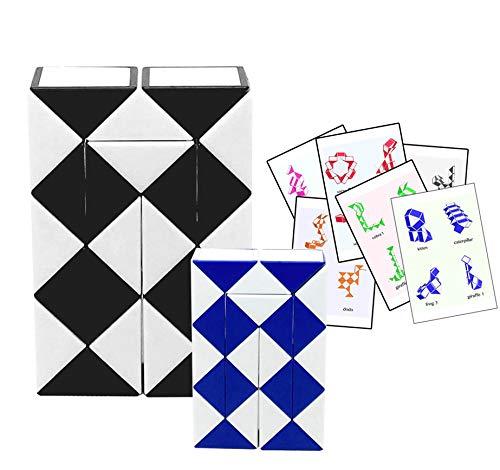 (Rubik Snake Twist Puzzle 24 Wedges (Parts) Pattern Cards Standard Size 1.3 inch Each Part / Free Mini Rubik Snake 24 Part.)