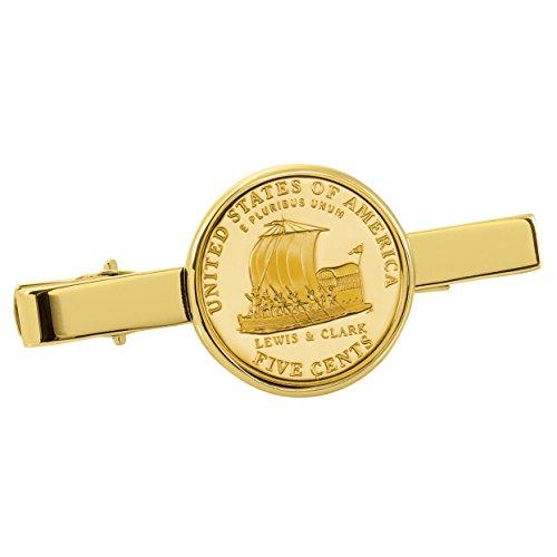 American Coin Treasures Gold-Layered Westward Journey Keelboat Nickel Goldtone Tie Clip