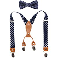 Suspenders & Bowtie Set for Kids and Baby - Adjustable Elastic X-Band Strong Braces