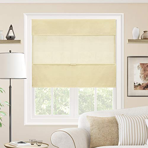 CHICOLOGY Cordless Magnetic Roman Shades Privacy Fabric Window Blind, 39
