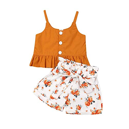 Infant Girl Clothes Baby Girl Outfits Orange Off Shoulder Straps Ruffled Sleeveless Button Vest Backless Shirt Tops + Orange Flower White Bow Elastic Short Pants Set 1st Birthday Outfit 12-18 Months