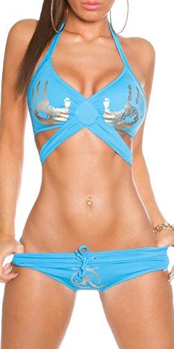 Mujer Neck Holder Bikini Set con mano print en parte superior y Slip En Blanco Y Negro Turquesa de color azul en XS S M Cup B de c de koucla by en de stylefa shion turquesa