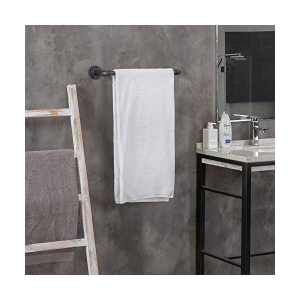 MyGift 20-Inch Wall-Mounted Industrial Steel Gray Metal Pipe Bathroom Hanging Towel Bar 5
