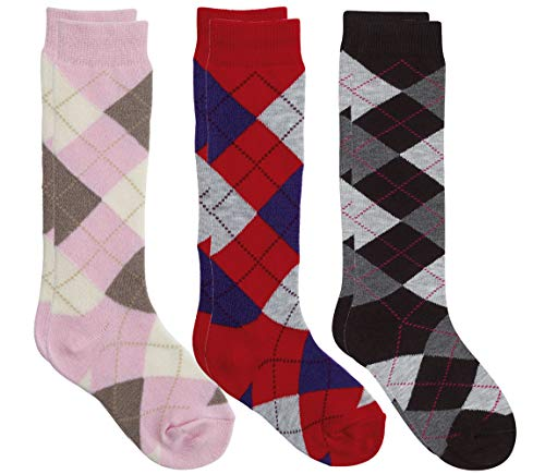 Country Kids Big Girls' Fun Plaid Argyle Knee Hi Socks, Pack of 3, Fits 6-10 years (shoe size 12-6.5), Red/Gray/Pink ()