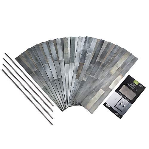 Aspect Peel & Stick Distressed Metal Panel (15 sq ft Kit, Gilded Silver)