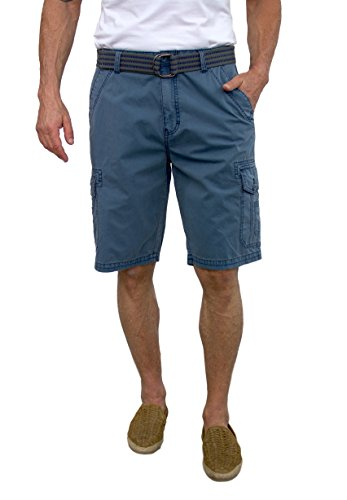 Short Fin Cargo Short with A Belt (Denim Size 34 (Blue Walking Shorts)