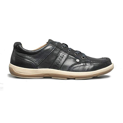 Hush Puppies Mens Vizla Lace Leather Trainers Navy