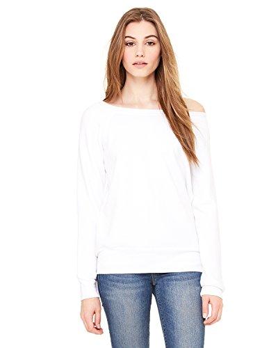 Bella + Canvas Women'S Sponge Fleece Wide Neck Sweatshirt (Solid White Triblend) (S)
