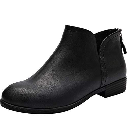 - Women's Wide Width Ankle Boots - Classic Low Heel Back Zipper Comfortable Booties.(180912,Black,10WW)