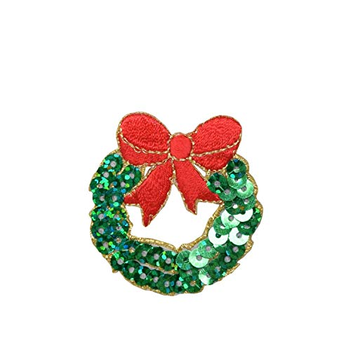 Christmas Sequin Wreath Iron on Embroidered Patch