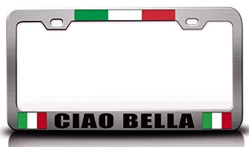 MaolinLicensF License Plate Covers Ciao Bella Italian Flag Aluminum Metal License Plate Frame 2 Holes and ()