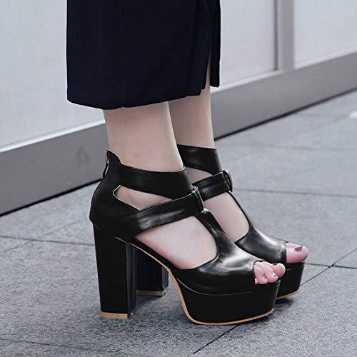 Peep Toe Sandales Chaussures Talon Haut Noir Femmes TAOFFEN Plateforme 4XYqvvp