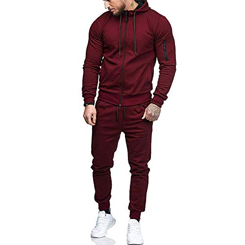 Sumen Men Zipper Patchwork Hoodie Pants Sets Tracksuit Jogging Sweatsuit Activewear Wine Red