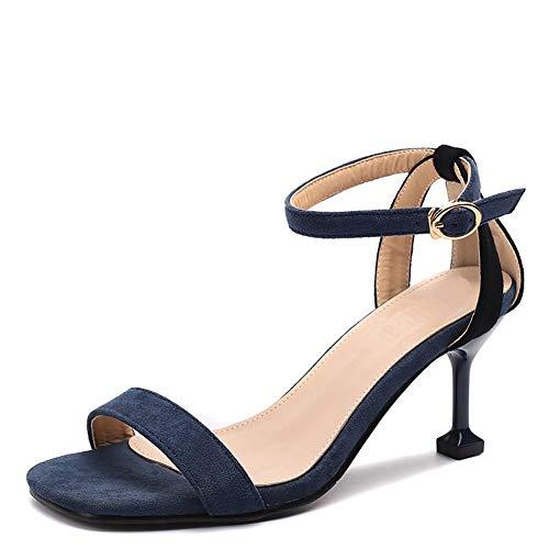 pour Talon Dames Chaussures Ouvert Sandales Femmes Chaton Bleu Talons Ruiren Cheville Hauts zxC1qFRAf
