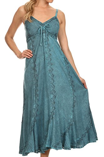 Turquoise Ruffled (Sakkas 152105 - Allie Stonewashed Embroidered Adjustable Spaghetti Straps Long Dress - Turquoise - 1X/2X)