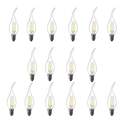 L-HM C35 Flame tip LED Light Bulb for Vintage Antique Chandelier and Candelabra 2W 2700K E12 Base (Pack of 16)