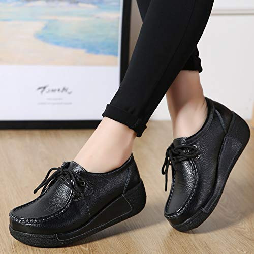 con para Color Cordones Zapatos Plataforma Qiusa de Negro EU 39 Cuero de Negro Mujeres tamaño tSZwB0