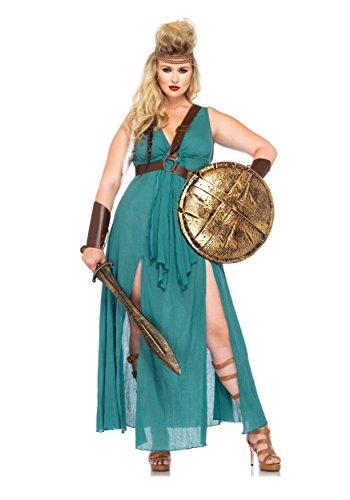 Leg Avenue Women's Plus-Size 4 Piece Warrior Maiden Costume, Hunter Green, 3X/4X