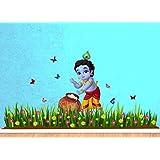 Creatick Studio 'Bal Krishna Butterfly Grass Decorative' Wall Sticker Standard Size- 115CM X 76CM Color- Multicolor,