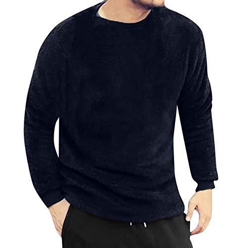 YOcheerful Men Long Sleeve Shirt Tee Autumn Winter Solid Fleece Top Blouse Double-Sided Plush Jumper Tunic Undershirt -