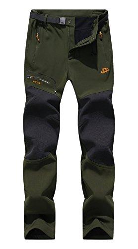 Bohuma Men's Outdoor Windproof Waterproof Softshell Fleece Hiking Snow Pants (A Black, Medium)