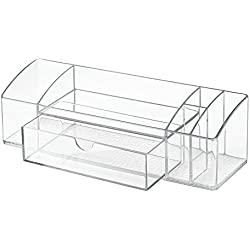 InterDesign Med+ Bathroom Medicine Cabinet Organizer for Makeup, Contact Lenses, Solution, Cotton Balls - Clear