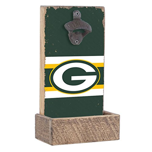 Rustic Marlin Designs NFL Green Bay Packers, Team Colors Background, Team Logo Bottle Opener, 7