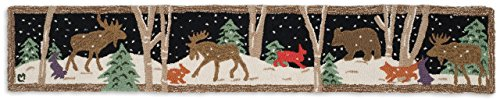 Chandler 4 Corners Beautiful Handmade Decorative Design By Hand Hooked Evening Snow Moose Mural Hearth Mat 1'X6' - 100% Wool
