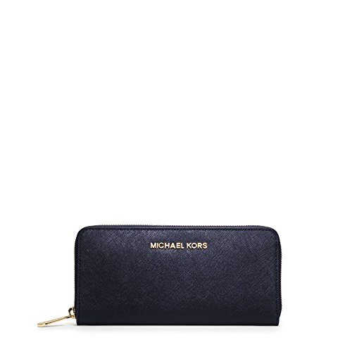 MICHAEL Michael Kors Jet Set Travel Zip Around Continental Saffiano Leather Wallet (One Size, Navy (9109) / Gold)