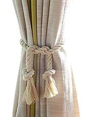 DEZENE Natural Cotton Curtain Tiebacks