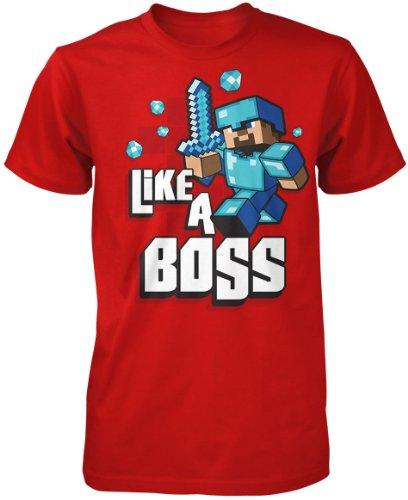 Minecraft Little Boys Like A Boss T-Shirt Medium Red